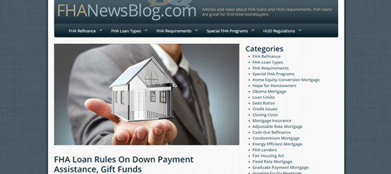 FHA News Blog website for first time homebuyers